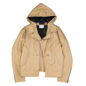 Helmut Lang buildout twill moto hooded jacket